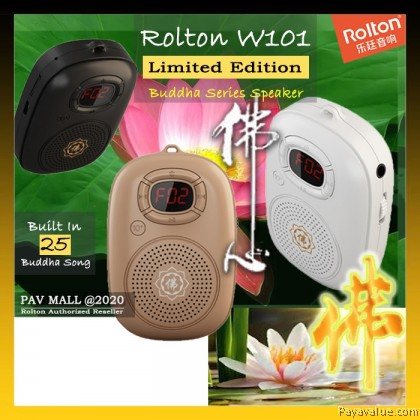 Limited Edition  Rolton W101 Mini Portable MP3 Speaker Buddha Logo Series Song MP3 LED Headphones Relax Calm Listen