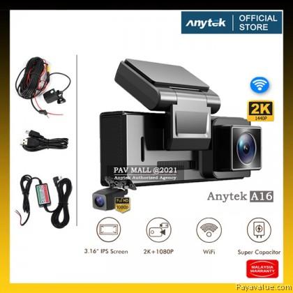 "New  Anytek A16 Car Dash Cam 1440P+1080P 3.16"" IPS Screen Huawei Hisilicon Chip Wifi Super Capacitor Dual Dashcam"