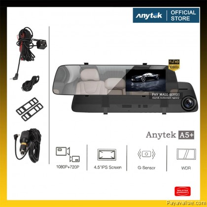 Original  Anytek A5+ Rear View Mirror Dual Camera Car Dashcam 1080P FHD Loop Recording G-Sensor