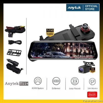 Original  Anytek T11+ FHD ADAS 9.66 Inch IPS Rear View Mirror Car DVR Streaming Dash Cam Camera