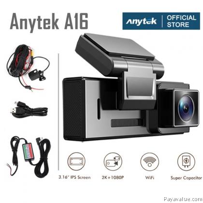 "Huawei Clip  Anytek A16 Car Dash Cam HD 2K 1440P+1080P 3.16"" IPS Screen Wifi Super Capacitor Dual Camera Depan Belakang"